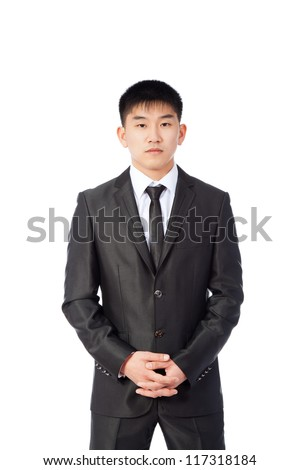 asian young business man confident serious, portrait of angry businessman wear elegant suit and tie isolated over white background - stock photo