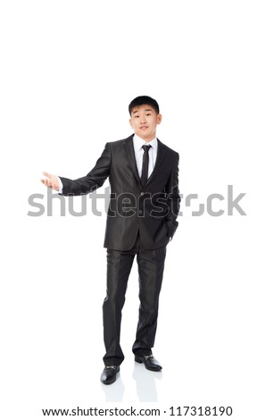 asian young business man confused unsure hold hand gesture ask question, uncertain businessman wear elegant suit and tie full length portrait isolated over white background - stock photo