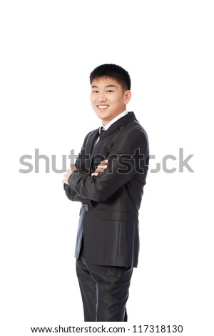 asian young business man happy smile, businessman folded hand, wear elegant suit and tie isolated over white background