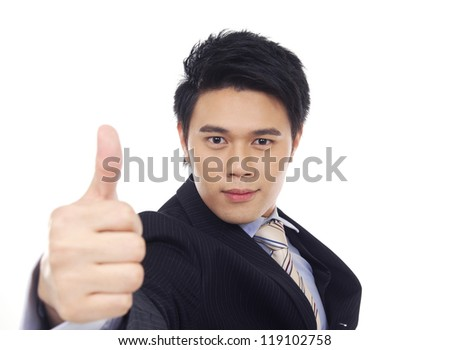 asian young business man hold hand with thumb up gesture, - stock photo