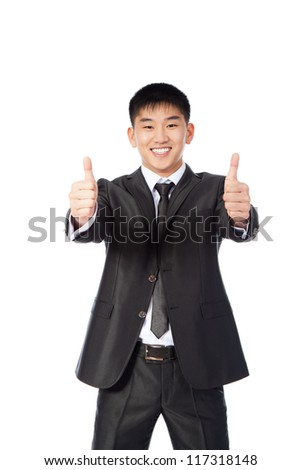 asian young business man hold hand with thumb up gesture, handsome businessman happy smile, wear elegant suit and tie isolated over white background - stock photo