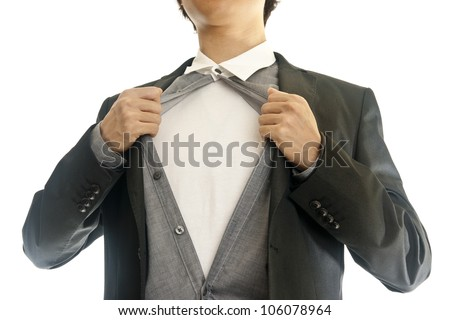 Asian young business man showing inside of his suit - stock photo