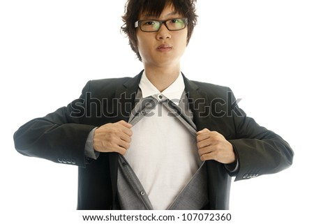 Asian young business man showing inside of his suit isolated on white background - stock photo