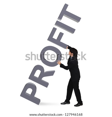 """Asian young businessman holding 3D Word """"Profit"""", Isolated over white - stock photo"""