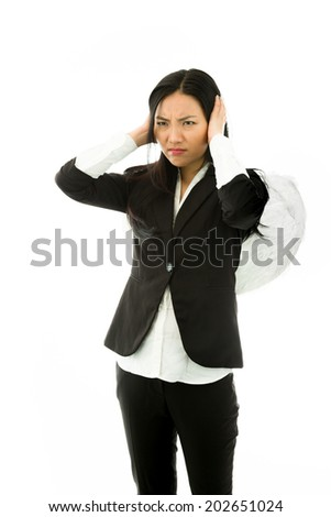 Asian young businesswoman dressed up as an angel hear no evil isolated on white background - stock photo