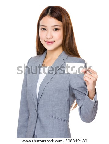 Asian young businesswoman show with name card