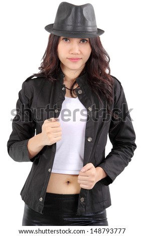 Asian young fashion model posing in the studio on white background