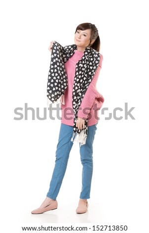 Asian young girl, full length portrait isolated on white background.