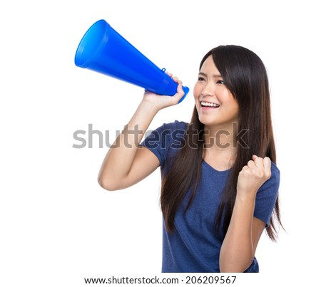 Asian young girl holding megaphone isolated on white background