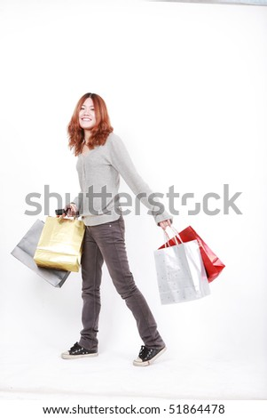 asian young girl with  shopping Bags