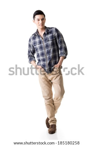 Asian young man, full length portrait isolated on white.