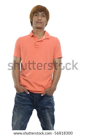 Asian young man with hands in pockets