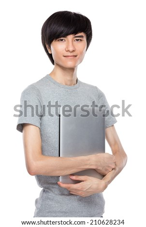 Asian young man with laptop computer