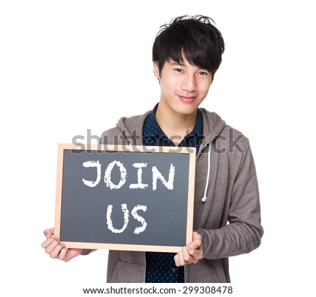 Asian young student with blackboard showing a phrase of join us - stock photo