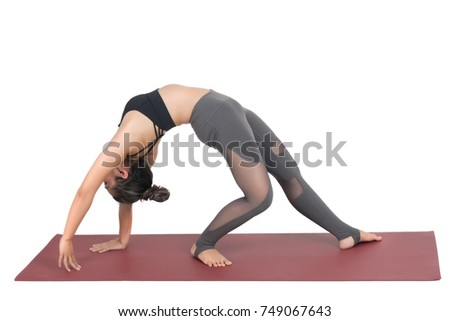Asian young woman doing yoga isolated on white background, healthy and fitness concept.