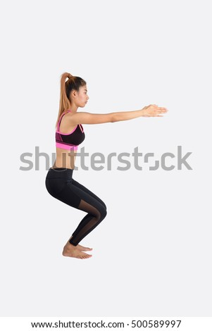 Asian young woman exercises yoga isolated on white background.
