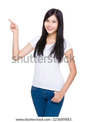 Asian young woman finger up
