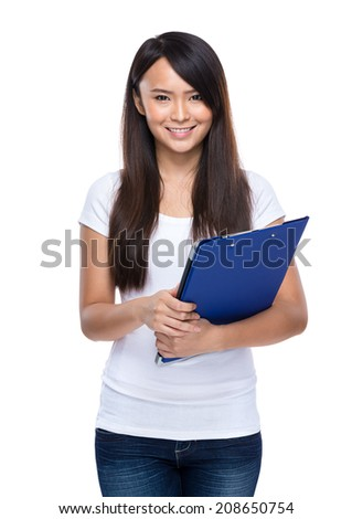 Asian young woman hold clipboard
