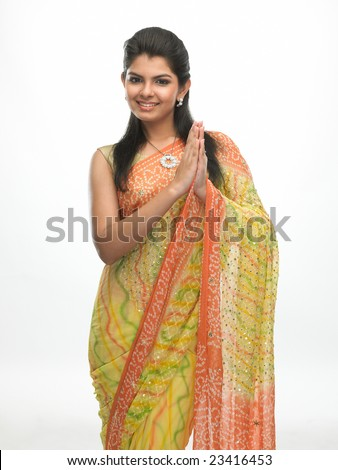 Asian young woman in welcome expression with a beautiful smile - stock photo