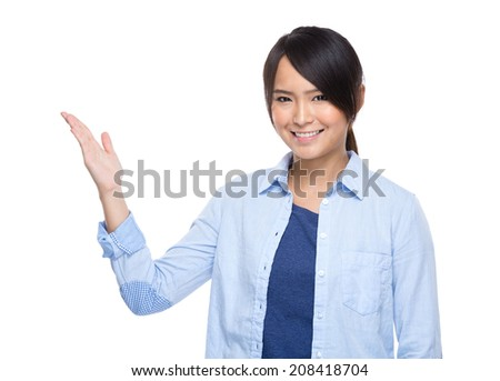 Asian young woman open palm present