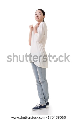 Asian young woman with casual dress, full length portrait isolated on white background.