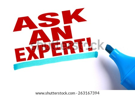 Ask an expert text and blue line with blue marker aside is on white paper. - stock photo