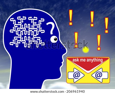 Ask me anything. Special service for men freely asking challenging or confidential questions via email - stock photo