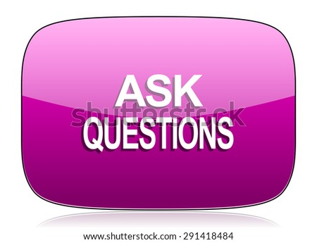 ask questions violet icon  original modern design for web and mobile app on white background with reflection  - stock photo