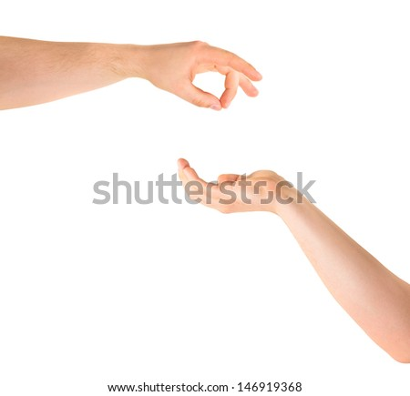 Asking for alms help caucasian hand gesture composition isolated over white background - stock photo