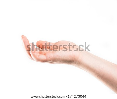 Asking human hand on white background