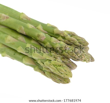 Asparagus on the green background - stock photo