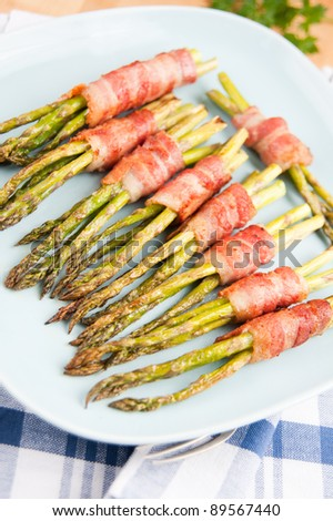 Asparagus Wrapped  in Bacon - stock photo