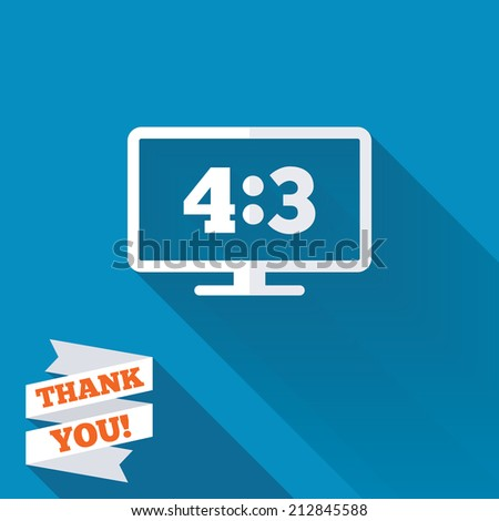 Aspect ratio 4:3 widescreen tv sign icon. Monitor symbol. White flat icon with long shadow. Paper ribbon label with Thank you text. - stock photo
