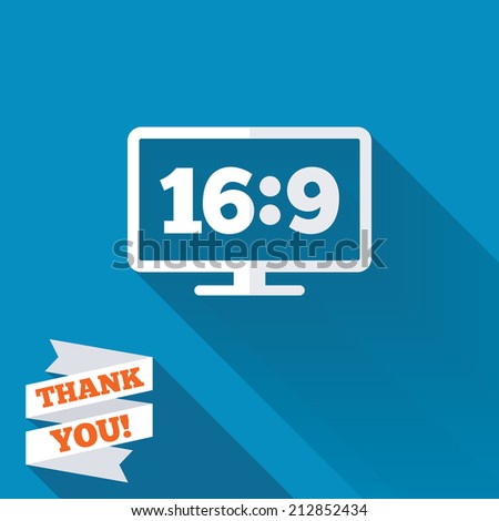 Aspect ratio 16:9 widescreen tv sign icon. Monitor symbol. White flat icon with long shadow. Paper ribbon label with Thank you text. - stock photo