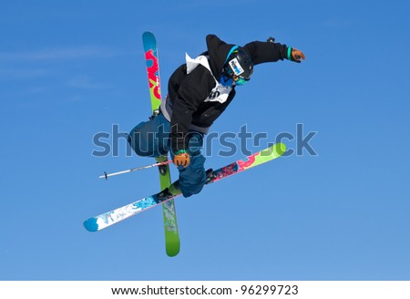 ASPEN, CO - FEB 24: Brendan Wall competes at the TTR World Tour  Men's Ski Slopestyle Event in Aspen, CO on Feb 24, 2012