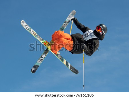 ASPEN, CO - FEB 24: Terry Butt competes at the TTR World Tour  Men's Ski Slopestyle Event in Aspen, CO on Feb 24, 2012