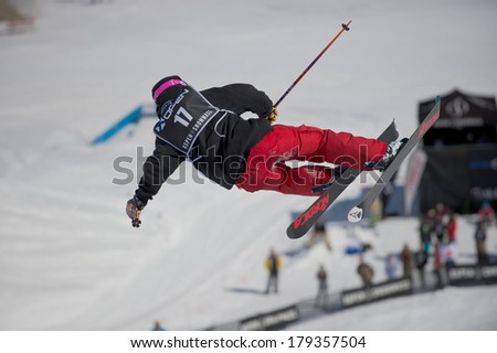 ASPEN, CO - FEBRUARY 23: Evan Schwartz at the AFP Aspen Snowmass Freeskiing Open at Buttermilk Mountain, CO on February 23, 2014