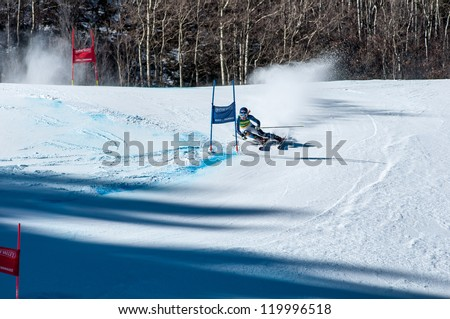 ASPEN, CO - NOV. 24: US Ski Team member Mikaela Shiffrin in action at the FIS World Cup GS WinterNational race in Aspen, CO on Nov. 24, 2012. - stock photo