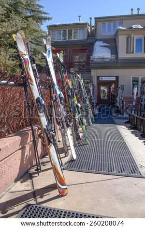 ASPEN, USA, FEBRUARY, 13th 2015: SkIers and lift during ski season in Aspen, Colorado - stock photo