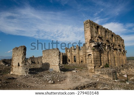 Aspendos ruins near  Antalya, Turkey - stock photo