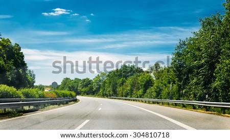 Asphalt Autobahn Highway Road In Germany - stock photo