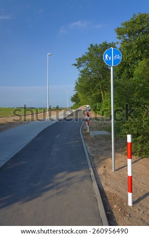 Asphalt bicycle path in Poland