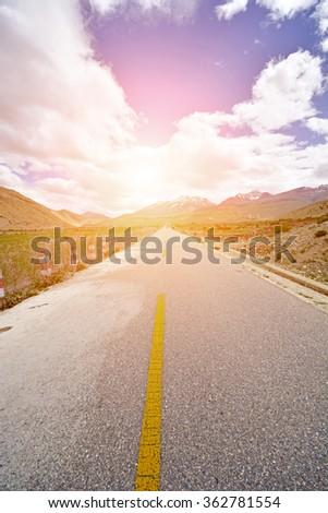 asphalt highw road  - stock photo