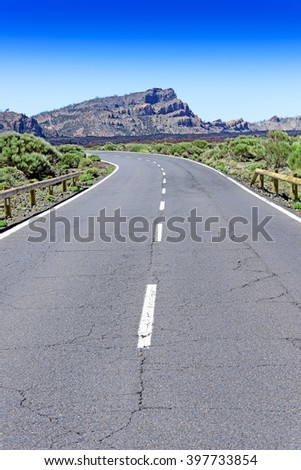 Asphalt road at Teide park. - stock photo