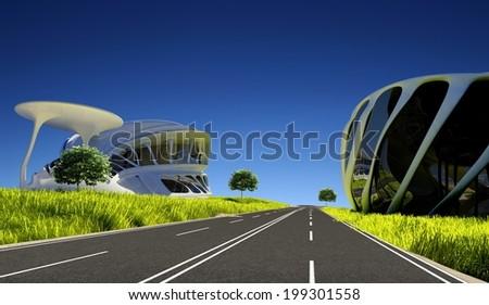 Asphalt road between modern houses. - stock photo