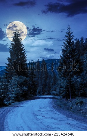asphalt road going off into the distance on the left, passes through the green shaded forest in mountains at night in full moon light - stock photo