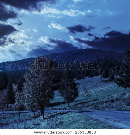 asphalt road going  passes through the autumn forest in mountain at night in full moon light - stock photo