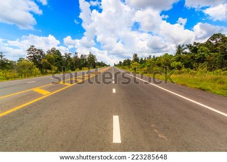 asphalt road - highway - stock photo
