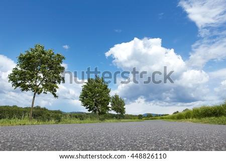 Asphalt road in sunny day - stock photo