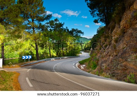 Asphalt Road in the French Alps - stock photo